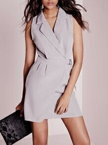 Grey Sleeveless Lapel Dress