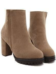 Camel Round Toe Zipper Chunky Boots