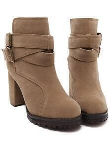 Camel Buckle Strap Chunky Boots