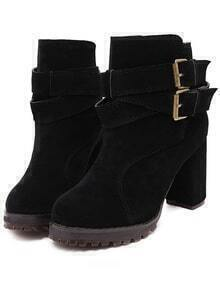Black Buckle Strap Chunky Boots