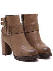 Brown Buckle Strap Zipper PU Chunky Boots