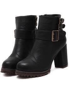 Black Buckle Strap Zipper PU Chunky Boots