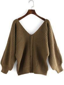Deep V Neck Puff Sleeve Sweater