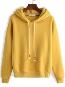 Hooded Zipper Loose Yellow Sweatshirt