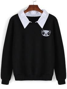 Contrast Collar Panda Embroidered Black Sweatshirt