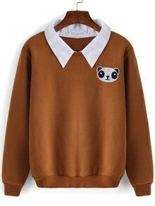 Contrast Collar Panda Embroidered Khaki Sweatshirt