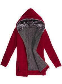 Hooded Zipper Pockets Burgundy Sweatshirt