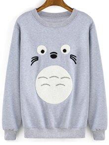 Round Neck Cartoon Print Grey Sweatshirt