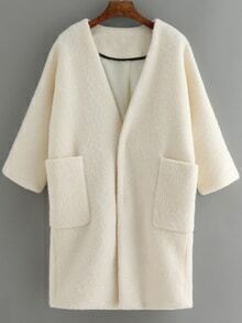 Half Sleeve Pockets Woolen White Coat