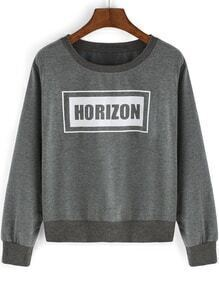 Round Neck Letters Print Crop Grey T-Shirt
