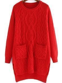 Diamond Patterned Dip Hem Red Sweater Dress