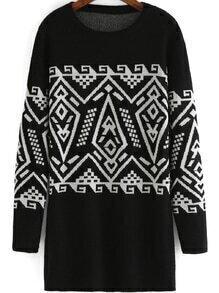 Tribal Print Loose Sweater Dress