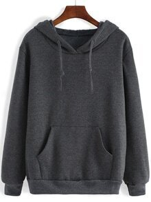 Hooded Drawstring Pocket Loose Sweatshirt