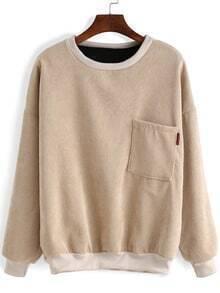 Round Neck Pocket Loose Sweatshirt