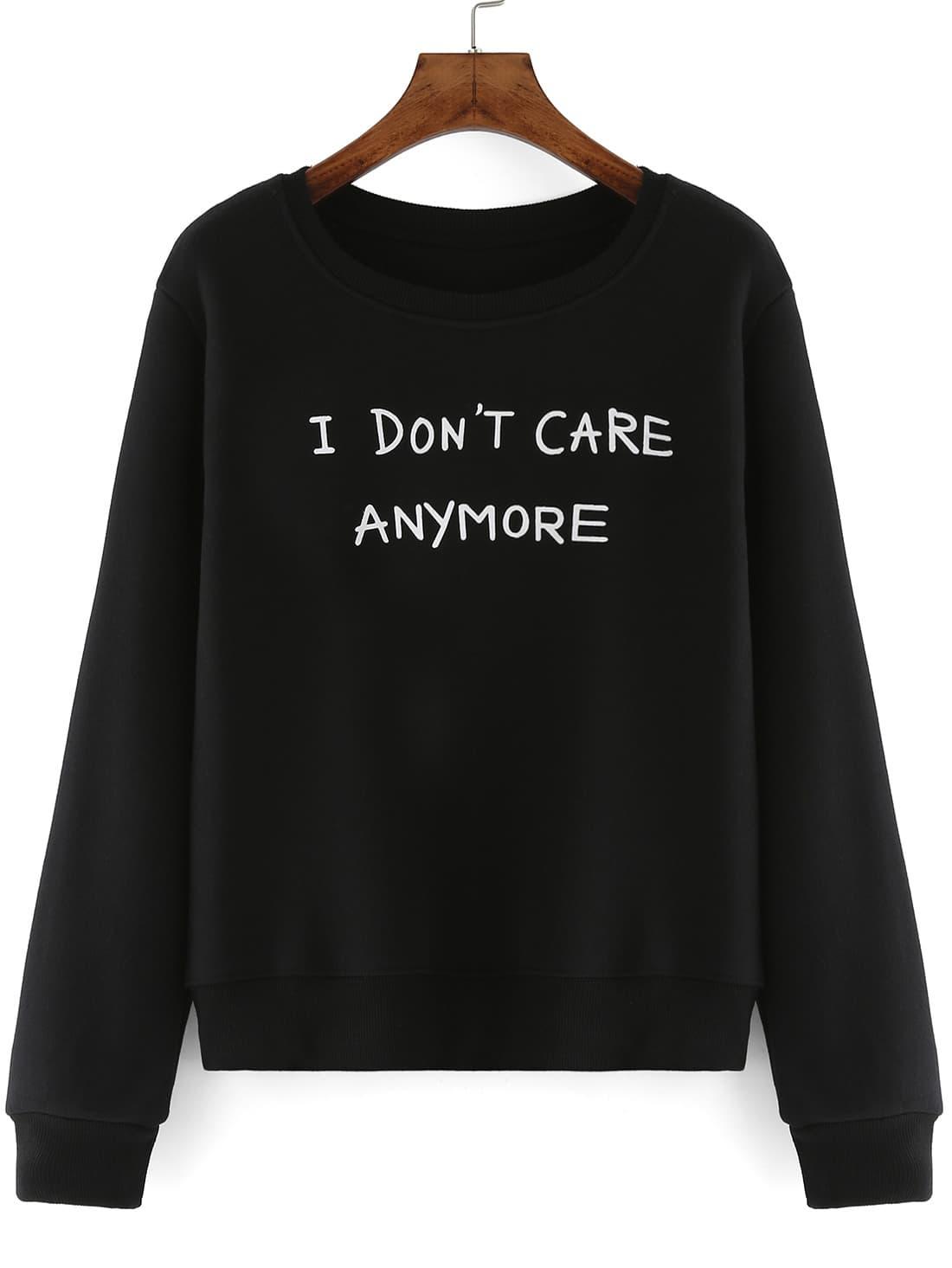 Round neck letter print black sweatshirtfor women romwe for Letters for sweatshirts
