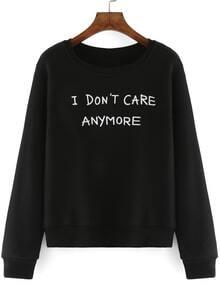 Round Neck Letter Print Black Sweatshirt
