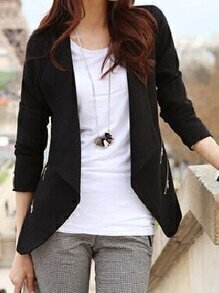 Long Sleeve Zippers Slim Blazer