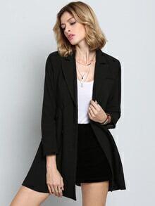 Black Long Sleeve Lapel Blazer