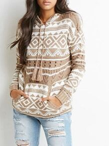 Apricot Long Sleeve Hooded Geometric Print Sweater