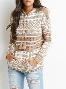 Apricot Long Sleeve Hooded Geometric Print Sweater