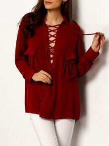 Burgundy Long Sleeve Lace Up Blouse