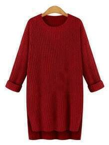 High Low Slit Red Sweater Dress