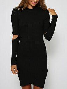 Long Sleeve Cut Out Wrap Dress