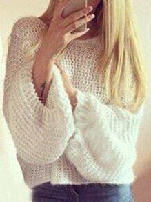 Puff Sleeve Hollow Loose Sweater