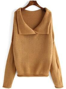 Lapel Long Sleeve Loose Khaki Sweater