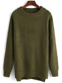 High Neck Slit Army Green Sweater