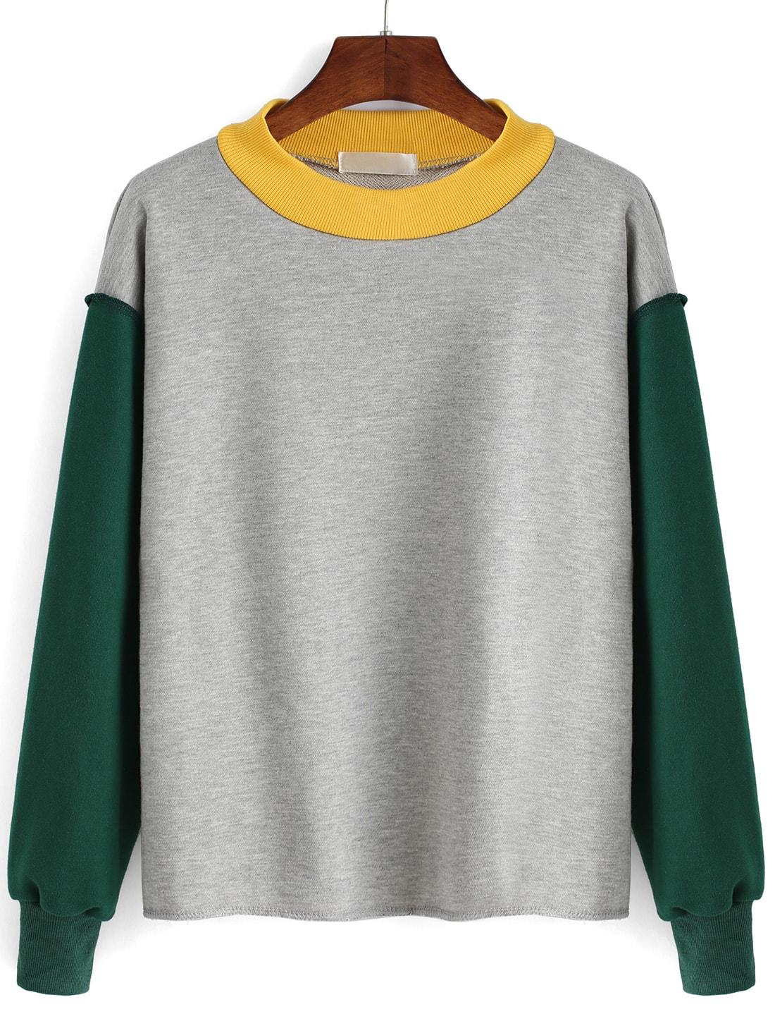 Color-block Round Neck Sweatshirt