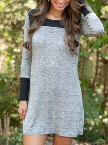 Color-block Long Sleeve Shift Dress