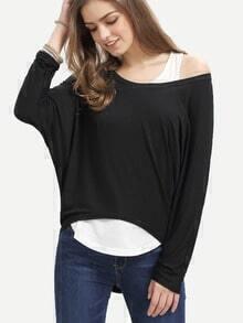 High Low Loose Black T-shirt