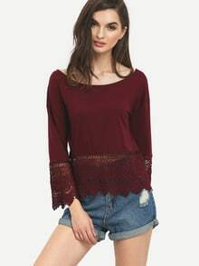 Lace Crochet Hollow Burgundy Blouse