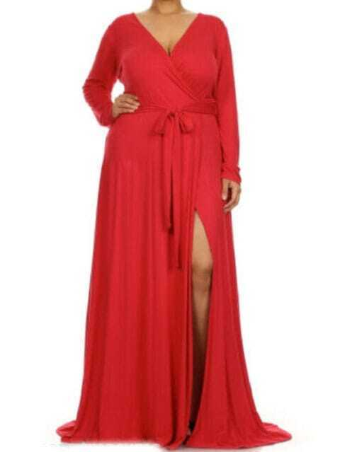 V Neck Slit Belt Maxi Red Dress - $15.00