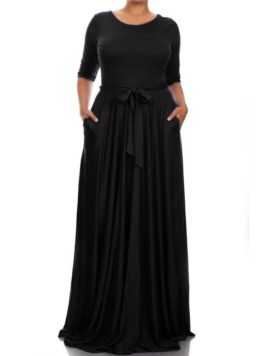 Round Neck Belt Maxi Black Dress - $9.89