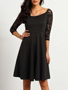 Black Off The Shoulder With Lace Dress