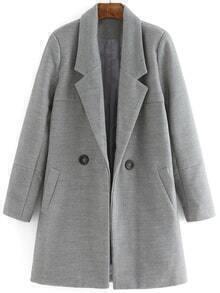 Lapel Buttons Long Grey Coat