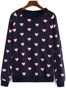 Round Neck Heart Print Navy Sweatshirt