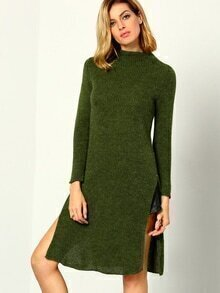 High Neck Slit Long Sweater