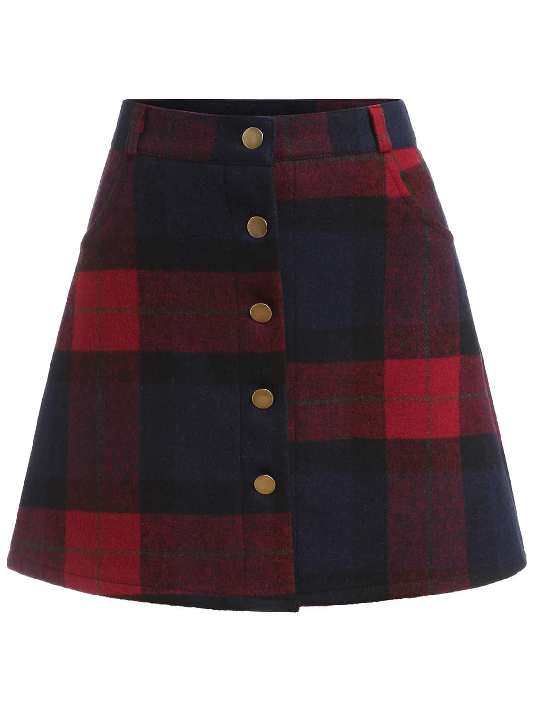 Plaid Single Breasted A Line Skirt 14.67