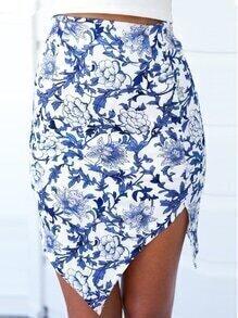 Florals Zipper Asymmetrical Skirt