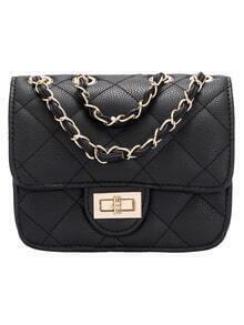 Black Twist Lock Diamond PU Bag