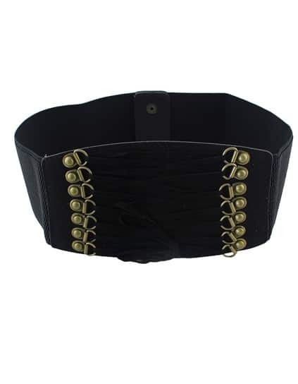 Black PU Leather Elastic Wide Fashion Waist Belt