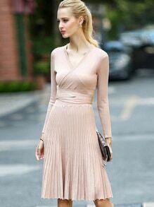 Apricot V Neck Long Sleeve Tie-Waist Knit Dress