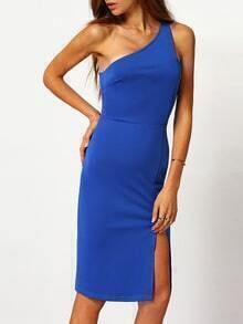 Blue One Shoulder Split Dress