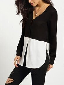 White Black Long Sleeve V Neck Color Block Blouse