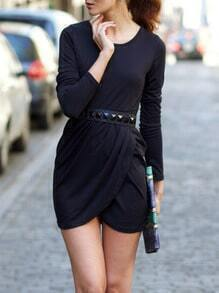 Black Round Neck Bodycon Dress
