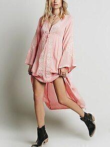 Deep V Neck Embroidered High Low Pink Dress