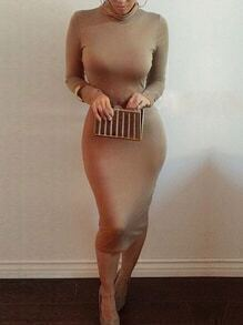 High Neck Tight Khaki Dress